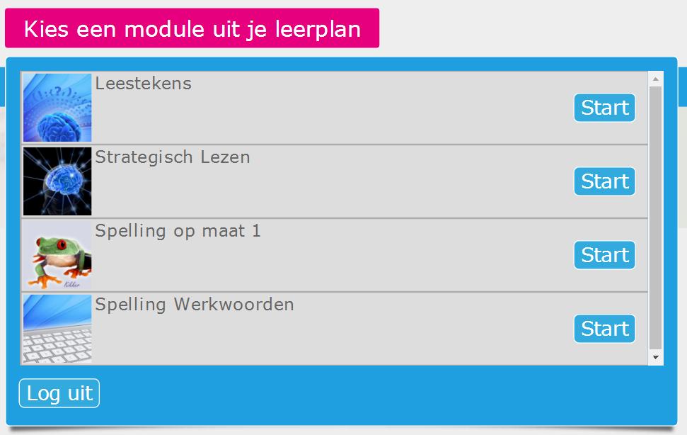 Het leerplan toont een selectie van de modules.