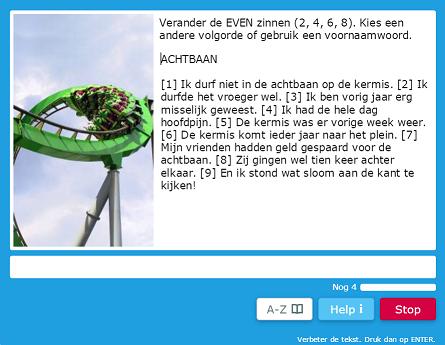 Tekst-wijzig-oefening in Muiswerk Online.