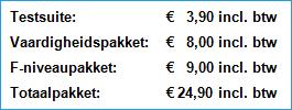 Prijzen en pakket voor Muiswerk Online.